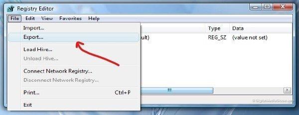 export registry Windows 2