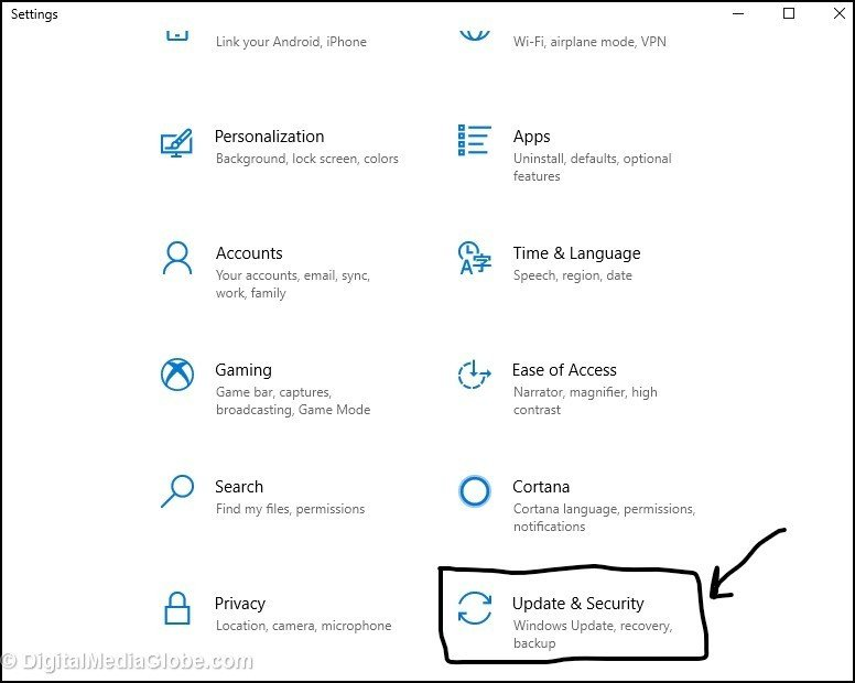 fix 4 - Settings - Update and Security