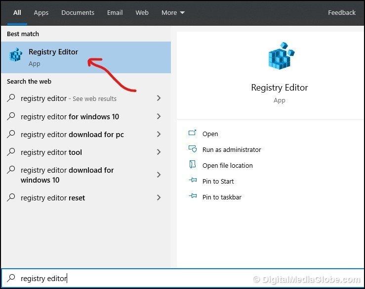 open Registry Editor by Searching 1- DigitalMediaGlobe