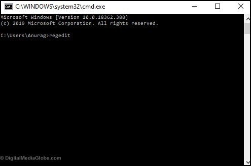 open registry editor with Command prompt 3(b)