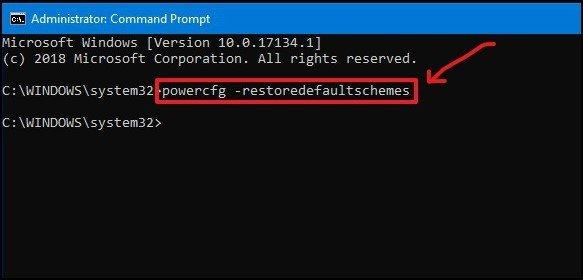powercfg restore default schemes - Windows 10 - 2 - DigitalMediaGlobe