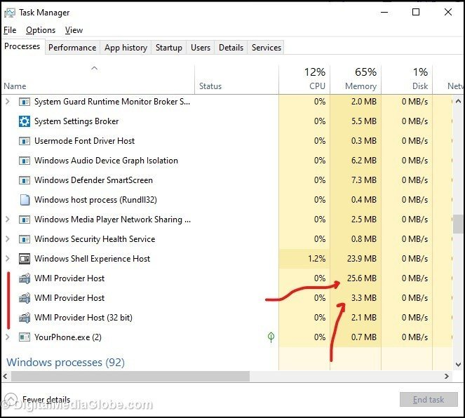 WMI Provider Host Disk Space Usage 1