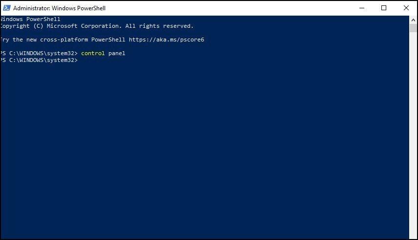 Open Control Panel using Windows Powershell 2
