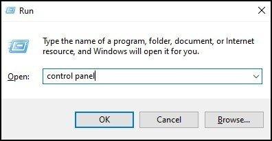 Open control panel using Run command 1