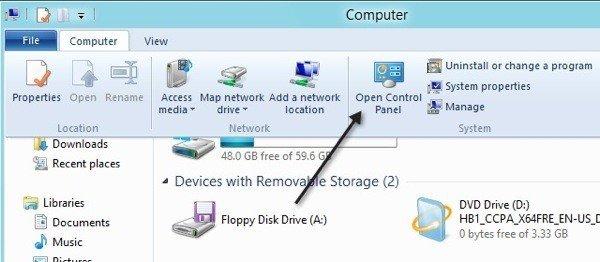 Open control panel using Windows explorer