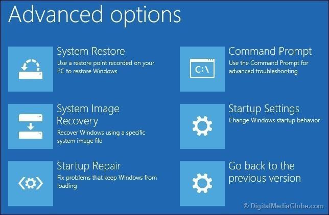 Advanced options Startup screen Windows 10