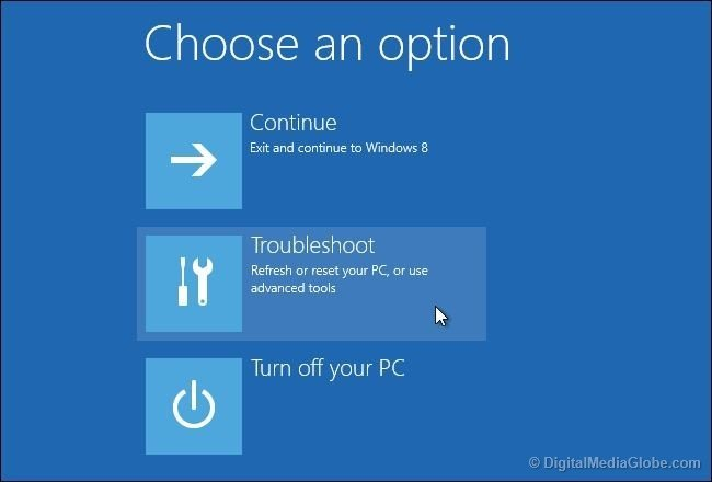 Choose an option Troubleshoot in Windows 10