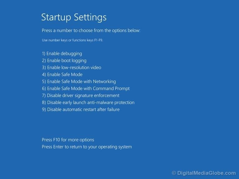 Startup setting with options in Windows 10