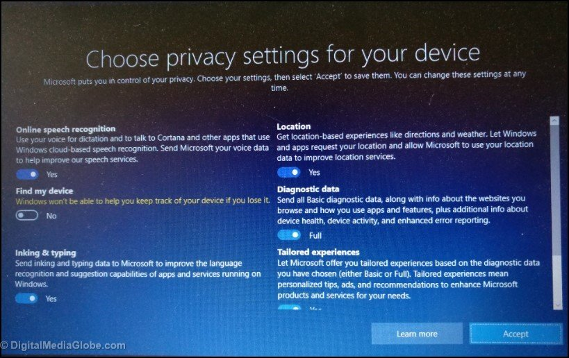 Choose privacy settings for your device add Microsoft account