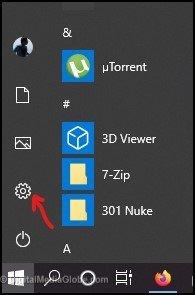 Click Setting in Windows 10