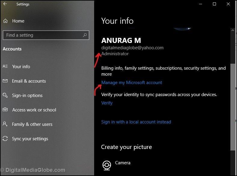 Created Microsoft account using Gmail or Yahoo