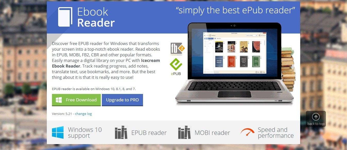 Ebook Reader Free MOBI and EPUB Reader for Windows Icecream Apps