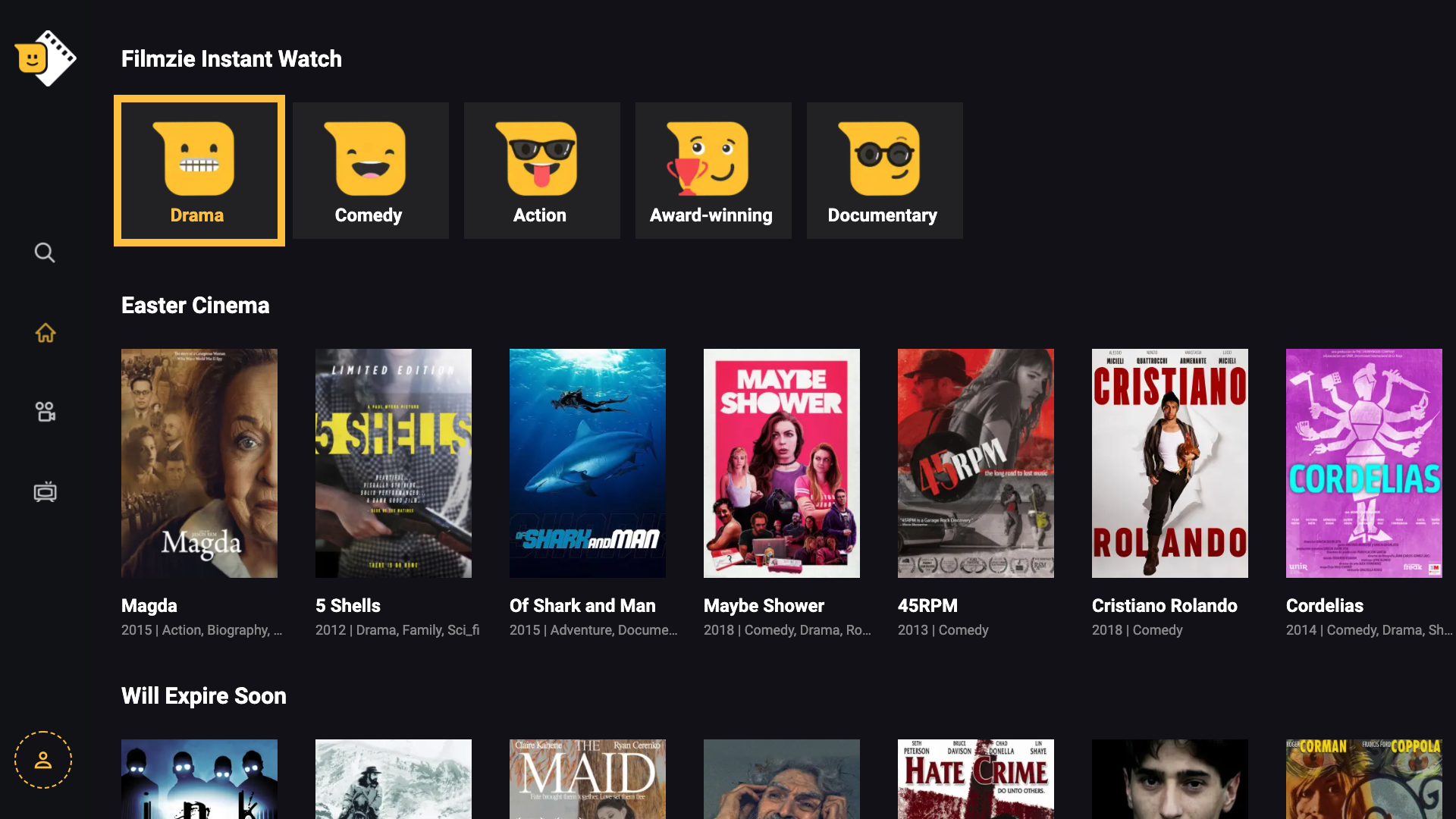 Filmzie top free movie app on Android and iOS