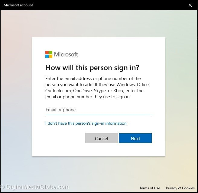 How will this person signin Adding Microsoft account