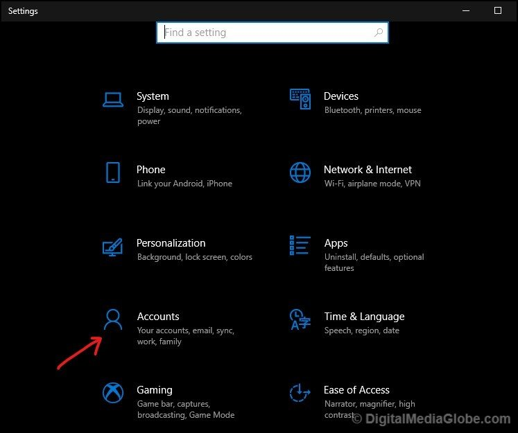 Microsoft account setting Accounts section