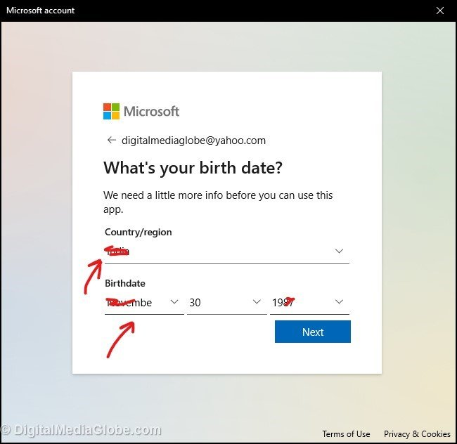 Put country DOB in Microsoft account