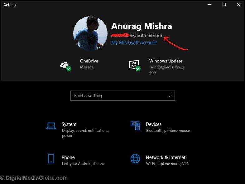 Setting in WIndows 10 for Microsoft account