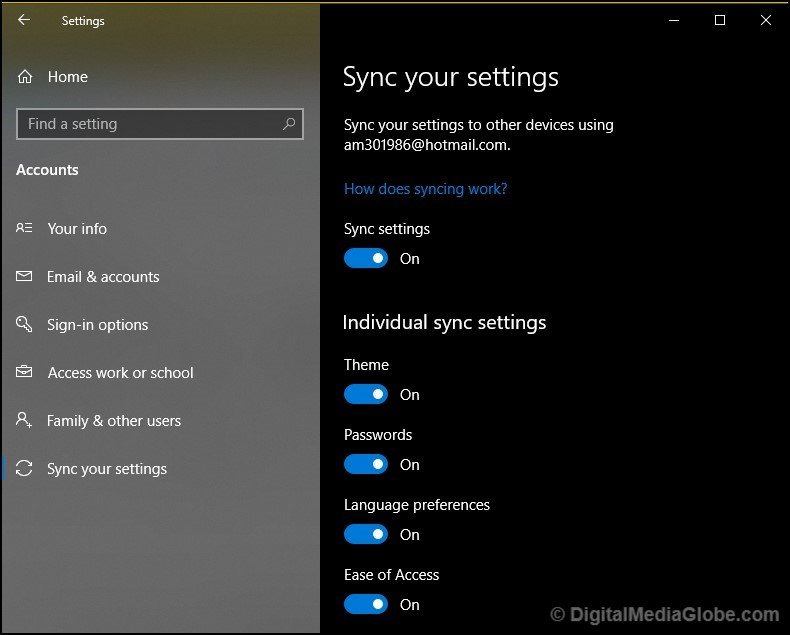 Sync your setting Windows Microsoft account