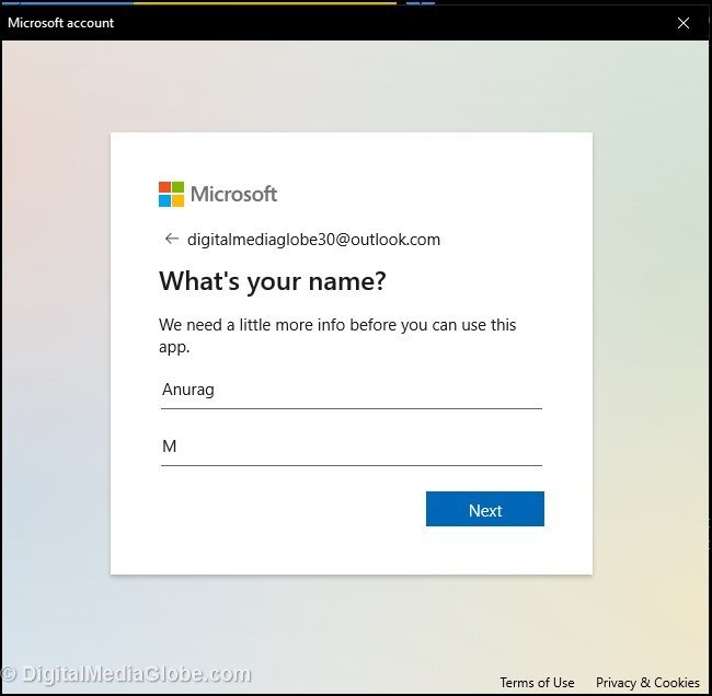 Type in Name to create Microsoft email address