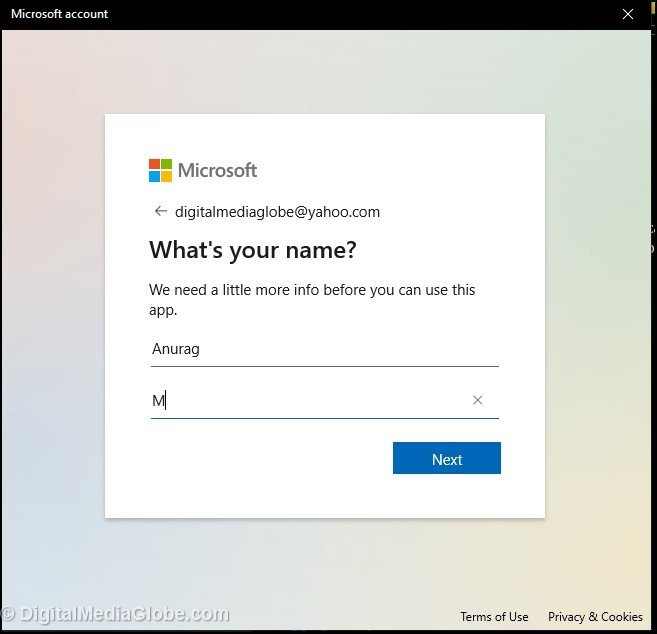 Type your name in create Microsoft account
