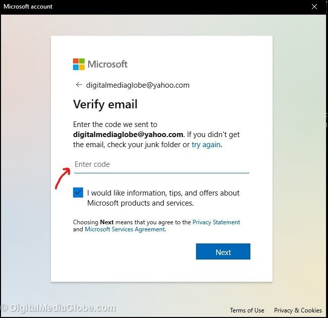Verify email with security code in Microsoft account
