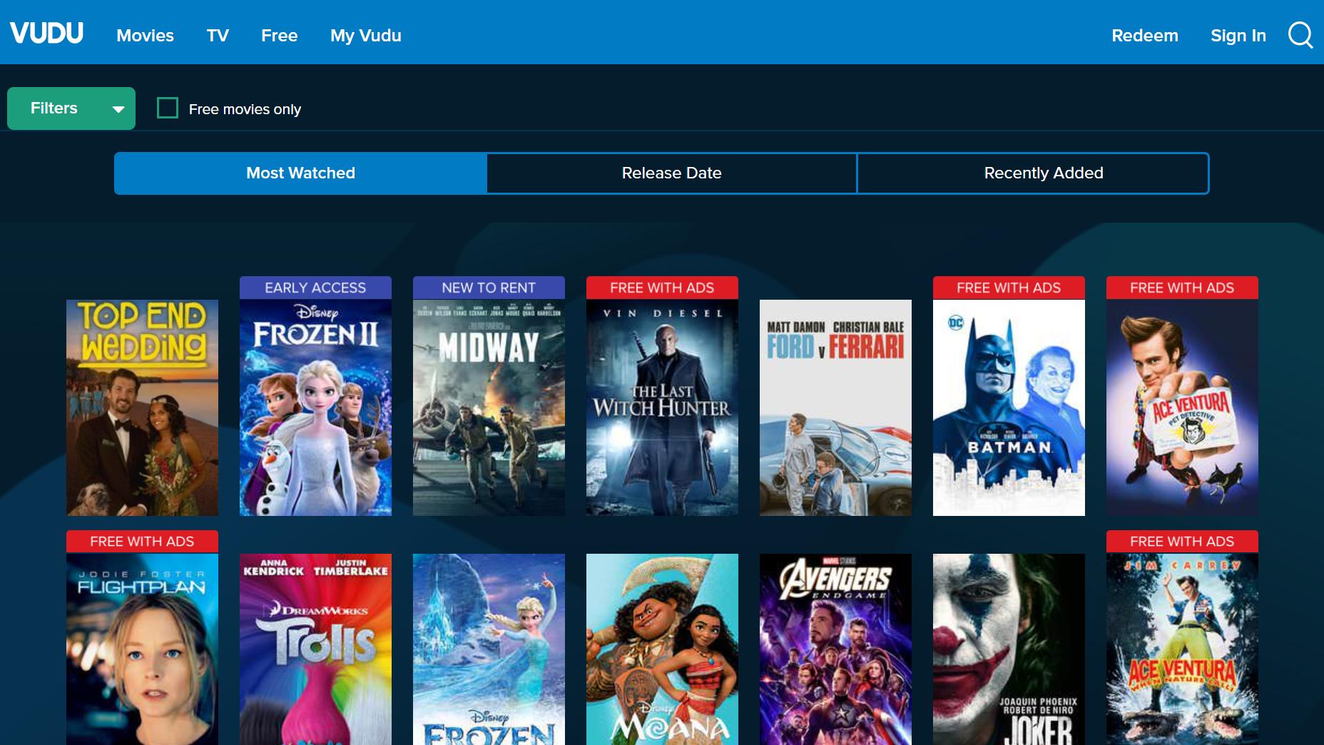Vudu free streaming movie app