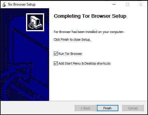 Completing Tor Browser setup