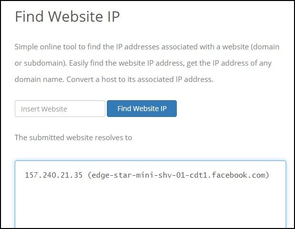 Find IP address of blocked websites