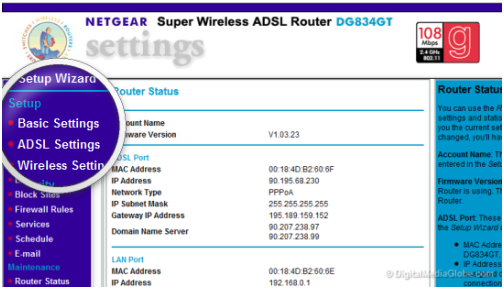 Netgear router administration page