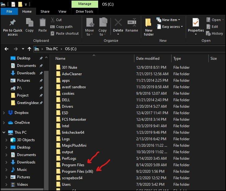 Two separate program files folder in Windows