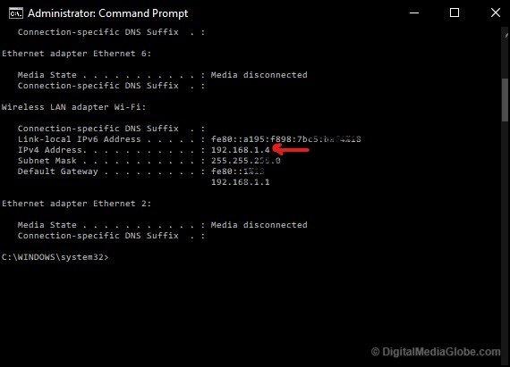 Windows find Internal IP address