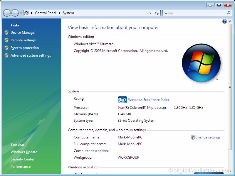 windows Vista system Digital Media Globe