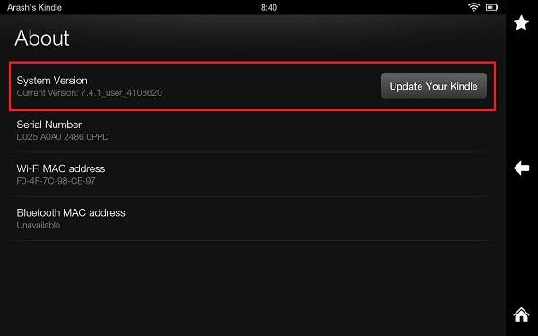 MAC address on Kindle