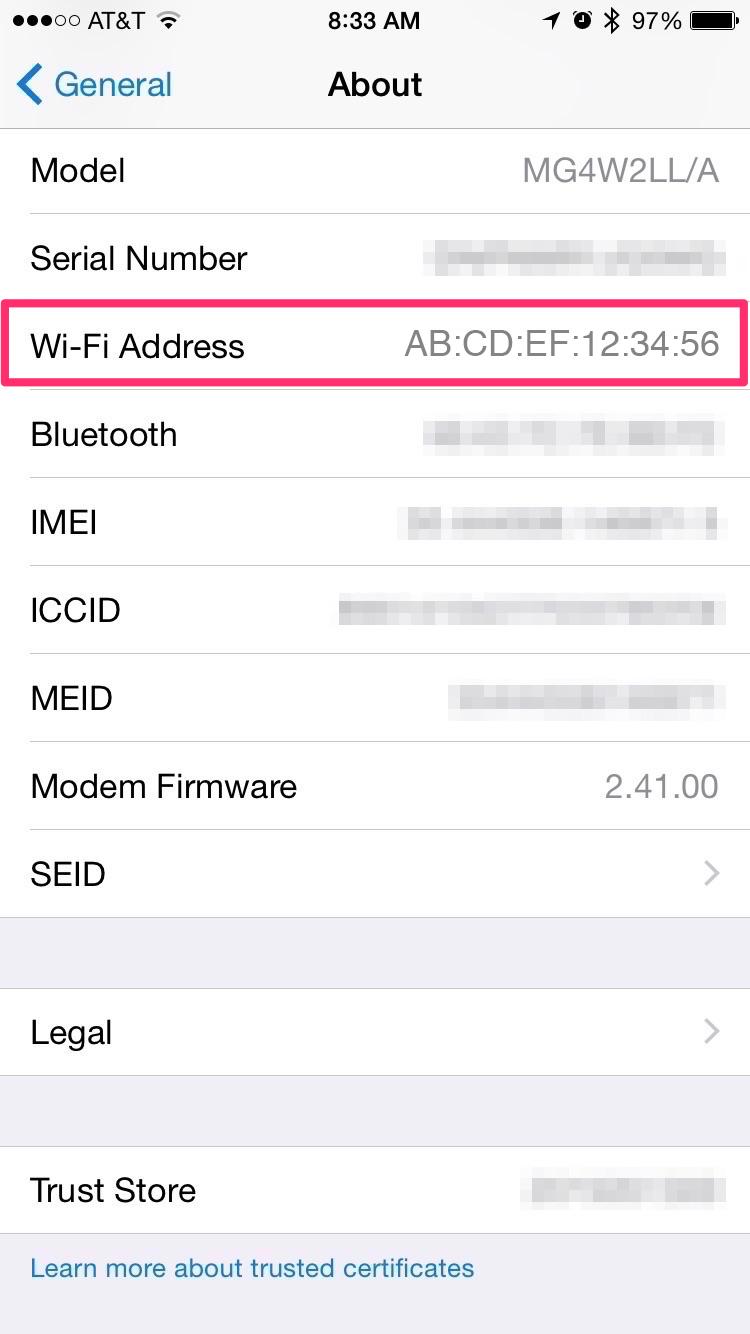 MAC address on iOS