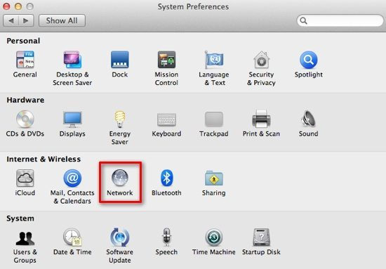 System Preference Network in Mac OS