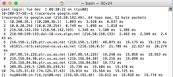 mac terminal traceroute
