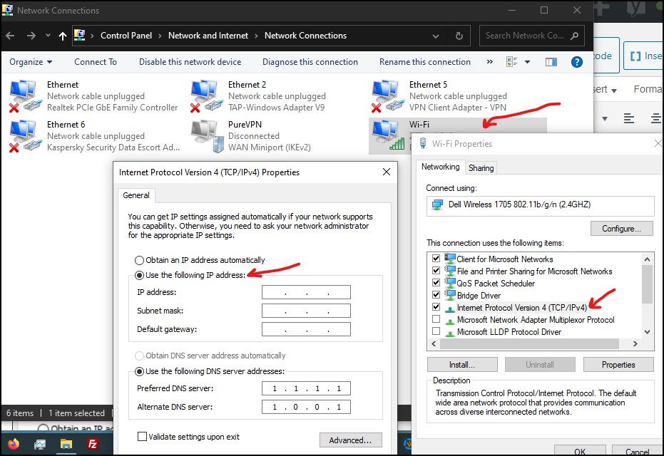 Assign static IP address in windows 1087 and beyond
