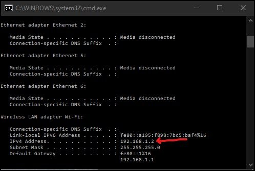 Assigning static IP address in router Command prompt check