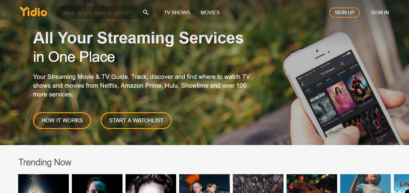 Yidio Streaming Guide for TV Shows Movies