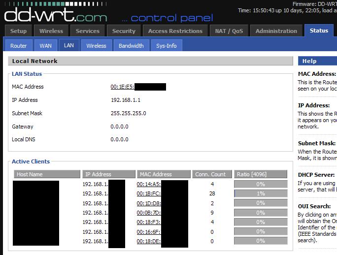 dd wrt DHCP Active client status