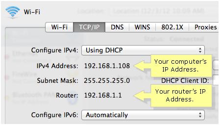 Check IP address in MAC OS X