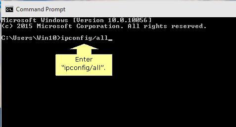 Command prompt IPConfig