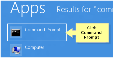 Command prompt search result in windows 8