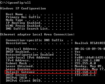 Default Gateway in Windows 8
