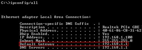 Default Gateway in Windows XP
