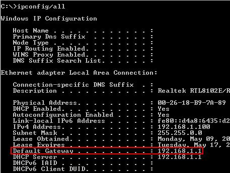 Default Gateway in windows 7