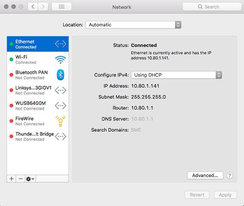 Ethernet then router for default gateway Mac OS
