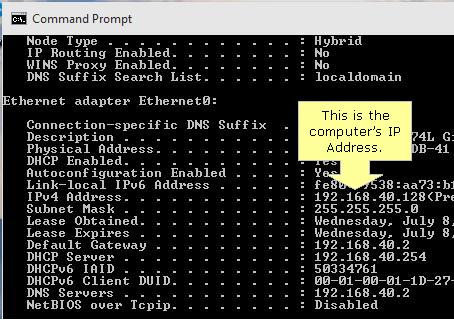 IPv4 address Command prompt