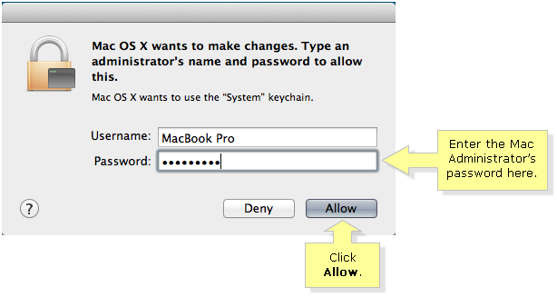 Mac administrative password