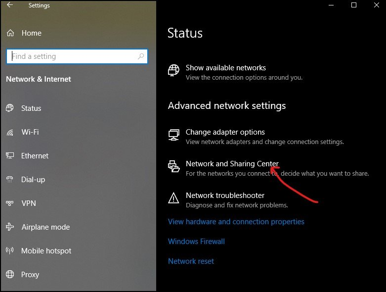 Network and Sharing Center in Windows 10